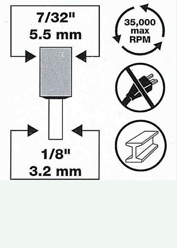"""2 Stück Ø5,5 mm / 7/32""""  Diamantbeschichtete Schleifstifte"""