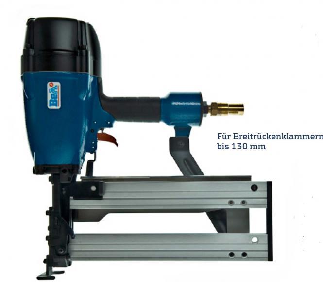 Breitrückenklammergerät Druckluft für  Längen von 65 bis130 mm