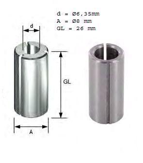 """Ø8mm Reduzierhülse auf  Ø6,35mm (Ø1/4"""") geschlitzt mit Kerbe."""